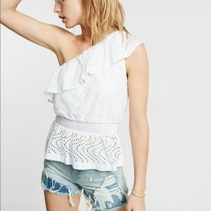 Express One Shoulder Eyelet Ruffled Blouse S